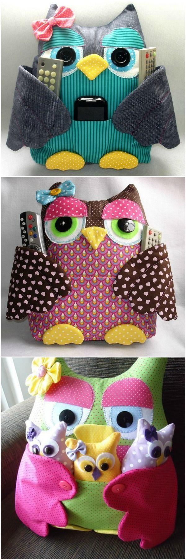 Sew Owl Pillow Pattern, Owl Cushion, Remoter Owl Snuggle Cozy Free Pattern #Sew, #Toy, #Organizer Template => http://www.fabartdiy.com/how-to-diy-fat-fabric-owl-pillow-with-pocket/