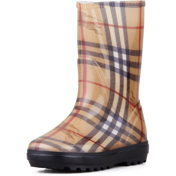 Burberry Check Rain Boot ($150) ❤ liked on Polyvore featuring shoes, boots, camel, famous footwear, genuine leather boots, lined rain boots, lined rubber boots and leather boots