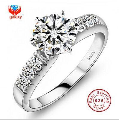 Tienes certificado de identificar! 100% plata de ley 925 anillos para mujer lujo 0.75 quilates CZ anillo de compromiso de diamantes ZP68 en Anillos de Joyería en AliExpress.com | Alibaba Group