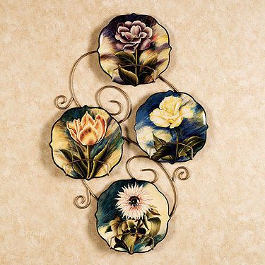 Decorative Plates Victorian Wall Decor Floral Plate Set (Rack not incl)