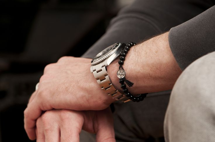 www.877workshop.com — Men's beaded bracelet anchor onyx black