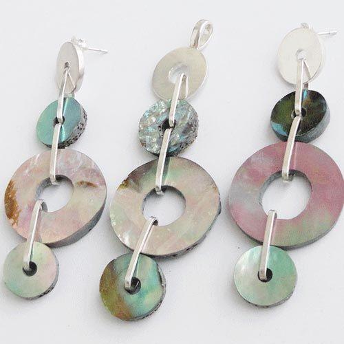 925 Sterling Silver Set 3 1/4'' Abalone shell Gemstone Jewelry-SRG01531