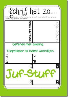 Schrijf het zo... werkblad om 'woorden van de week' te oefenen.