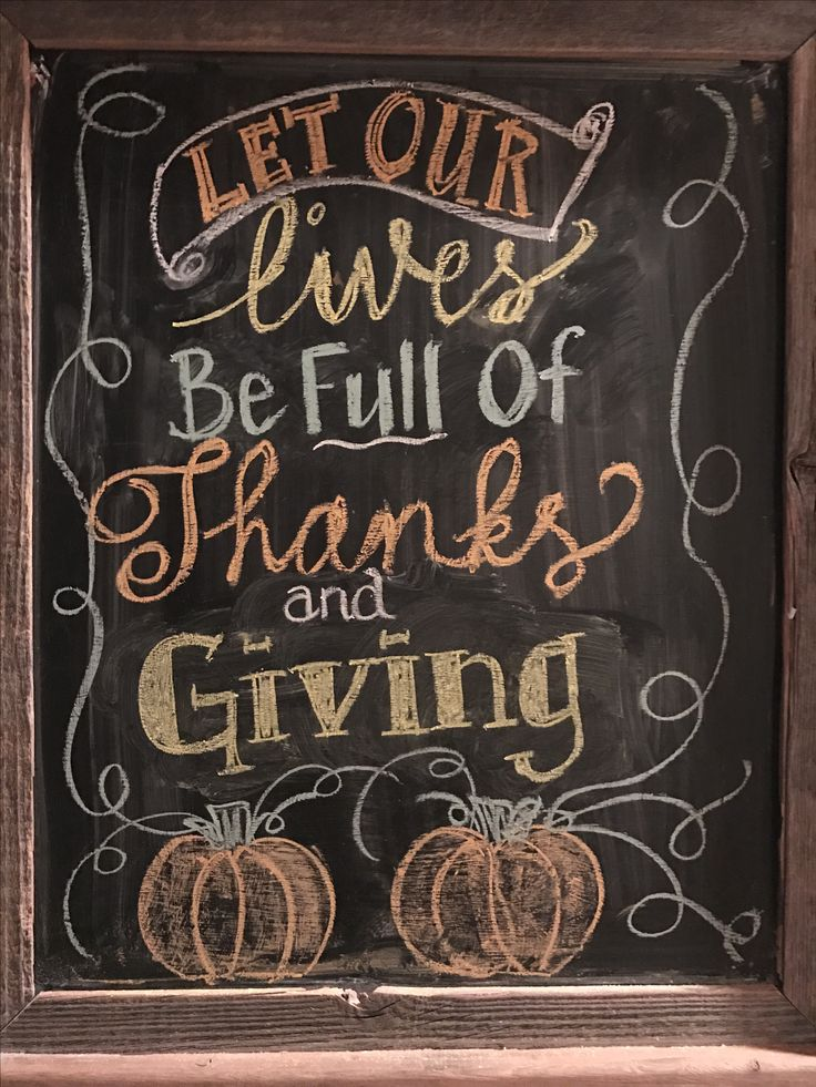 Thanksgiving chalkboard art