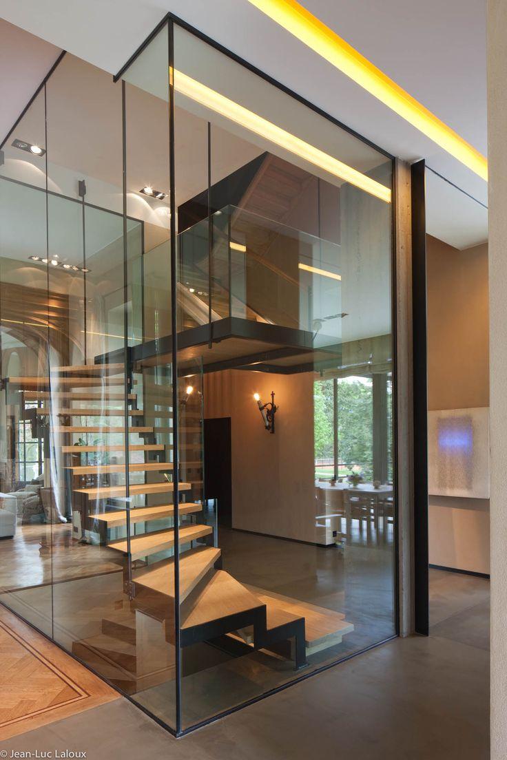 Glass encased staircase #interiordesign #design #interiors #bespoke #homes #designer