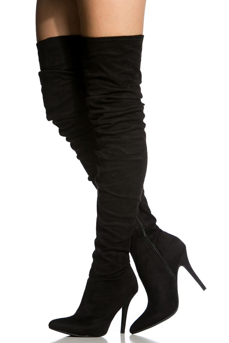 Black Faux Suede Pointed Toe Thigh High Boots  Cicihot -1001
