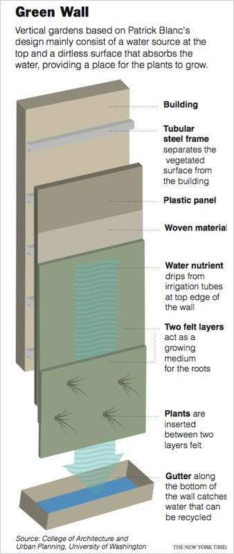 DIY Green Wall Concept - basically, hydroponics - sideways.