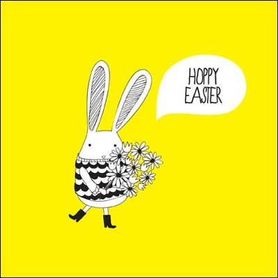 Bunny with bouquet #Easter card, finished with glitter varnish and Happy Easter greeting.
