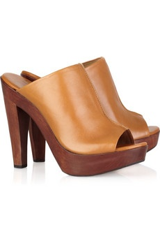 here is a pair of DVF opentoe clogs 50% off. Their camel