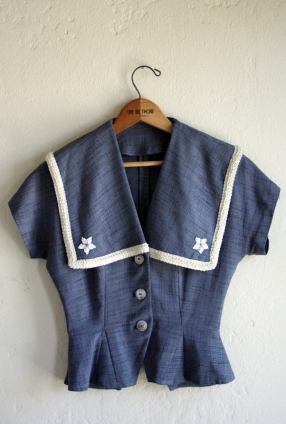 1940's Sailor Top by TopsyDesign on Etsy, $225.00