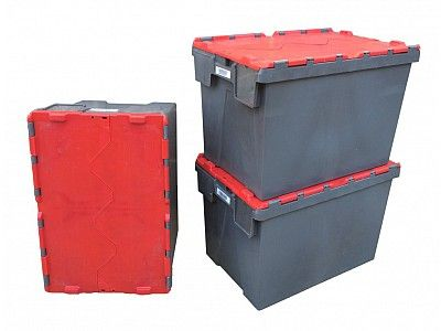 68.5 Litre Lightly Used Stack - Nest Attached Lid Container - Lidded Plastic Storage Box
