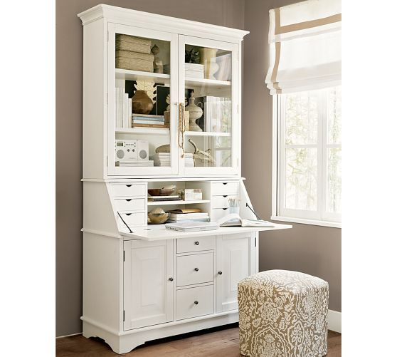 Graham Desk & Hutch | Pottery Barn styling in the eatery corner cabinets
