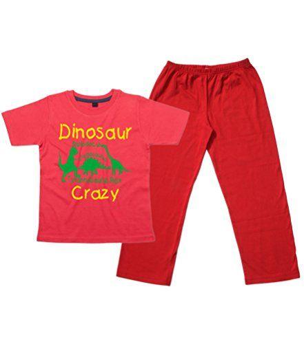 Children's Red T-Shirt & Red Long Pants Pyjama Set 'DINOSAUR CRAZY'
