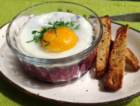 Cocotte Eggs with Purple Carrot Puree and Soldiers