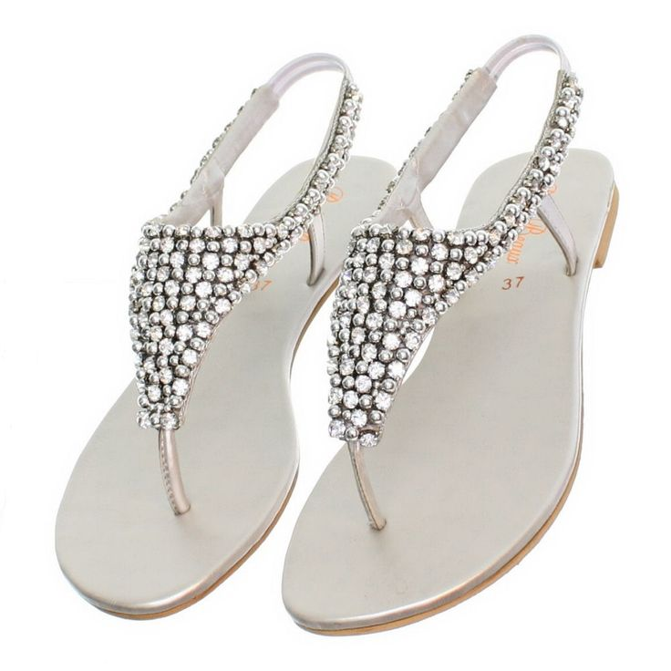 Womens Flat Diamante Sparkly Toe Post Silver Party Wedding Sandals Size 3 8