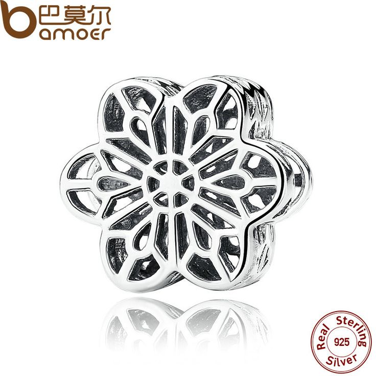 BAMOER 925 Sterling Silver Floral Daisy Lace Silver Charms Fit  Bracelet Beads Jewelry Making PAS287
