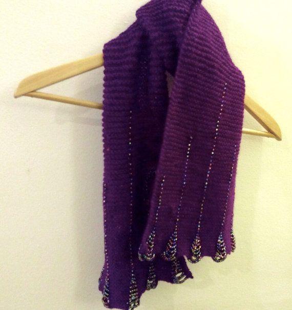 Handknit beaded deep purple scarf by WestEndCo on Etsy at: www.westendco.etsy.com
