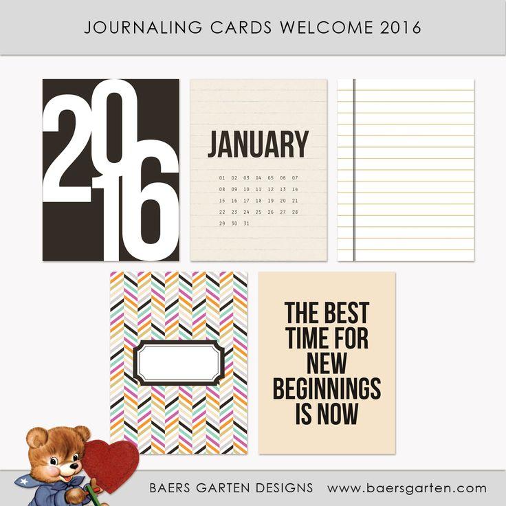 Quality DigiScrap Freebies: Welcome 2016 journal cards freebie from Baers Garten Designs