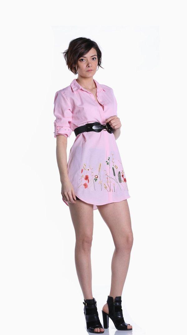 Acik Pembe Renk Cicekli Gomlek 318167 Kapida Odemeli Ucuz Bayan Giyim Alisveris Sitesi Modivera Giyim Tunik Mankenler