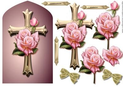 Arch Topper Roses Cross Sympathy on Craftsuprint designed by Marijke Kok - Beautiful arch topper with cross and gorgeous pink edwardian roses.a lovely bow to finish this card. - Now available for download!