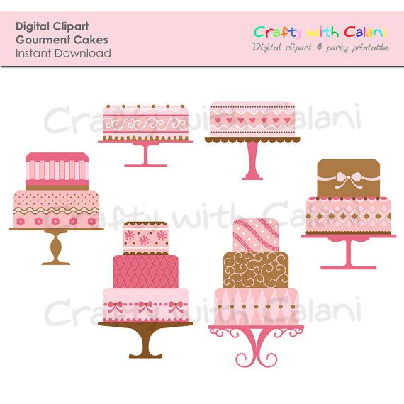 Cake Digital Clipart Tiered Cake Clipart by CraftywithCalani, $4.88