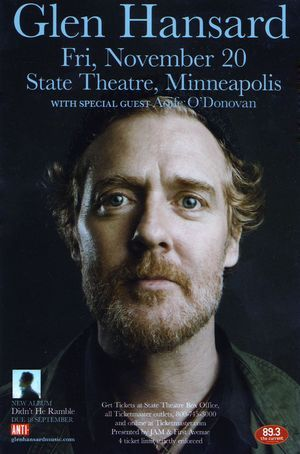 Irish songwriter and actor Glen Hansard just played the State Theatre in Minneapolis on Friday, November 20th. None