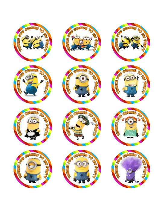 """Despicable Me Minions Gru Printable Party 2"""" Circle for Ballons, Cupcakes, Hats, Favors, Toppers, Stickers, Decorations"""