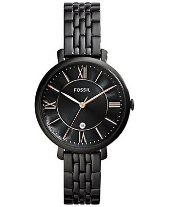 Fossil Women's Jacqueline Black-Tone Stainless Steel Bracelet Watch 36mm ES3614 - Fossil - Jewelry & Watches - Macy's