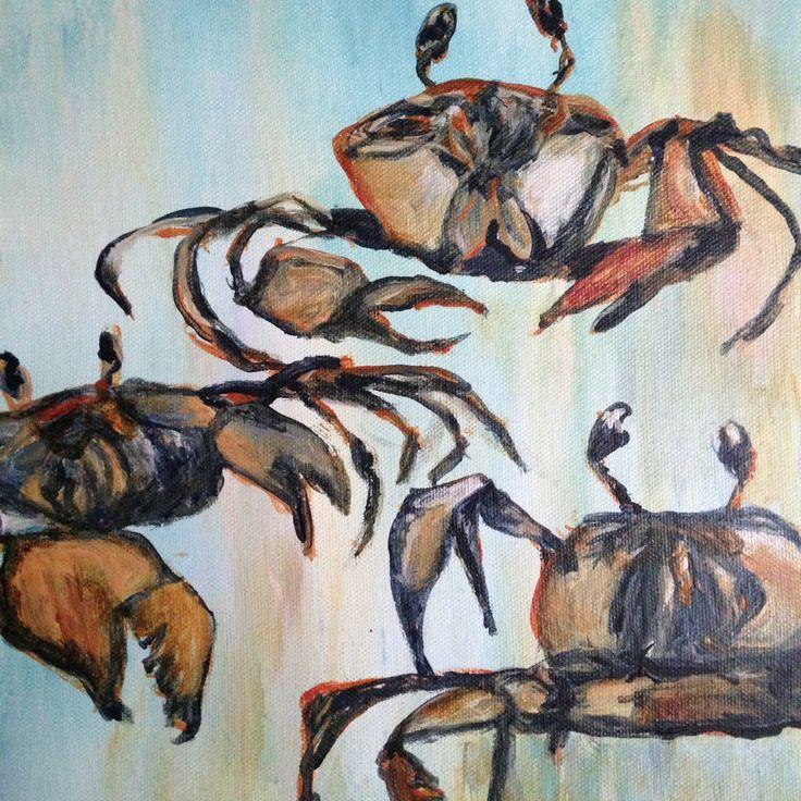 Crazy Crabs, Acrylic on canvas 2015. Ingrid Bowen Art