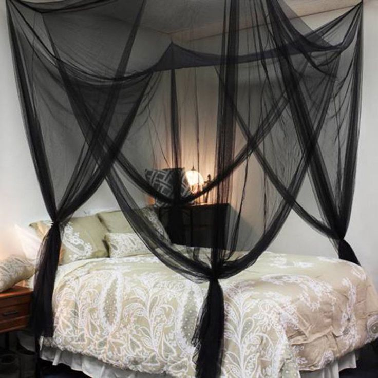 4 Corner Post Bed Canopy Mosquito Net Full Queen King Romantic Black Bedding