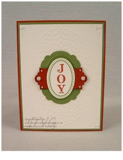 Joyous Celebrations stamp set with Holiday Frame embossing folder.