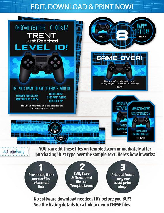 Video Game Party Invitations Video Game Invitations Video $12.50 #VideoGamePartyInvitations #VideoGameInvitations #VideoGamePartySupplies #Corjl