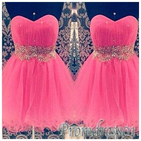 #promdress01 cute dresses, sweetheart coral tulle beaded short prom dress for teens,bridesmaid dress,homecoming dress #wedding #prom2015 -> www.promdress01.c... #coniefox #2016prom