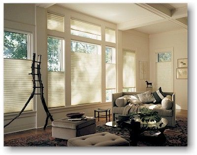 Other popular items include Duette Honeycomb shades by Hunter Douglas. These shades come in a variety of colors, fabrics and textures. The top-down/bottom-up feature allows you to let light in from the top while keeping the bottom private.
