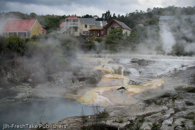 This is a photo taken at the Whakarewarewa thermal village in Rotorua, New Zealand. The members of the local Māori tribes that live there guide you around their village. They really do live that close to the all the geothermal activity. It is a must see if you visit New Zealand.