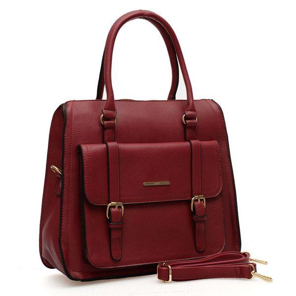VK Vintage Handbag With Front Buckle Pocket - Red