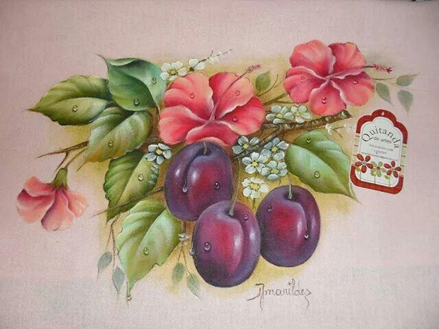 ameixas - pintura em tecido