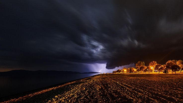 A storm is coming towards Pefki resort at north Evia, Greece.