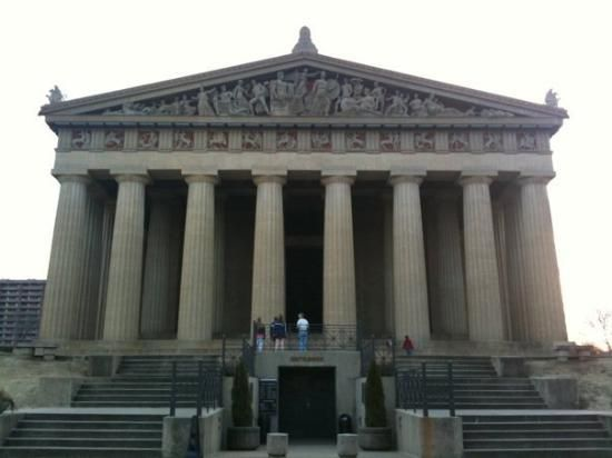 The Parthenon Full scale replica, with Athena goddess statue  and Greek Museum in Nashville TN