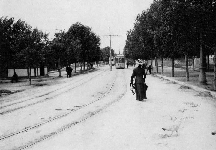Snow in Alexandras Ave, 1910, Athens