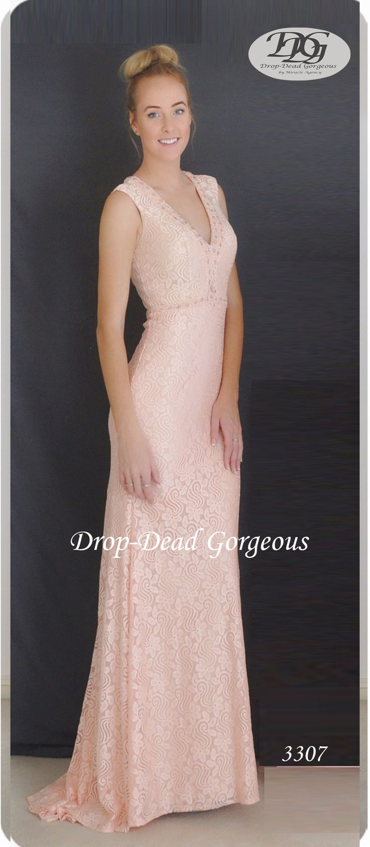 Drop-Dead Gorgeous 2016 Collection  Lace gown with a plunging V neck and tonal hand sewn beaded neckline and waist.  #DropDeadGorgeous #MiracleAgency #BridesmaidsDresses #Lace www.miracleagency.net