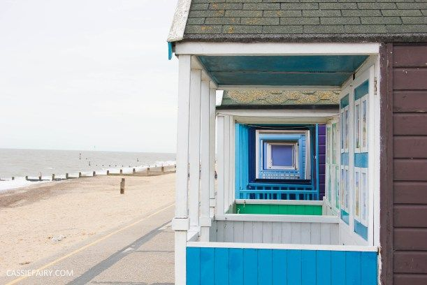 seaside beach huts view at southwold in suffolk