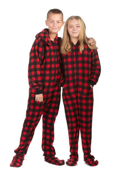 b51505fe02 Hoodie Footed Onesie Buffalo Plaid Fleece Pajamas for Boys   Girls NEW Sale  on Now! Hoodie