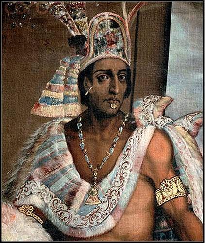 Una representación casí moderna, del siglo XIX, de Moctezuma II, emperador del imperio azteca quien fue capturado y matado por Cortés y los españoles durante la guerra para control de la capital, Tenochtitlan.  El cuadro viene de un sitio patrocinado por una universidad.