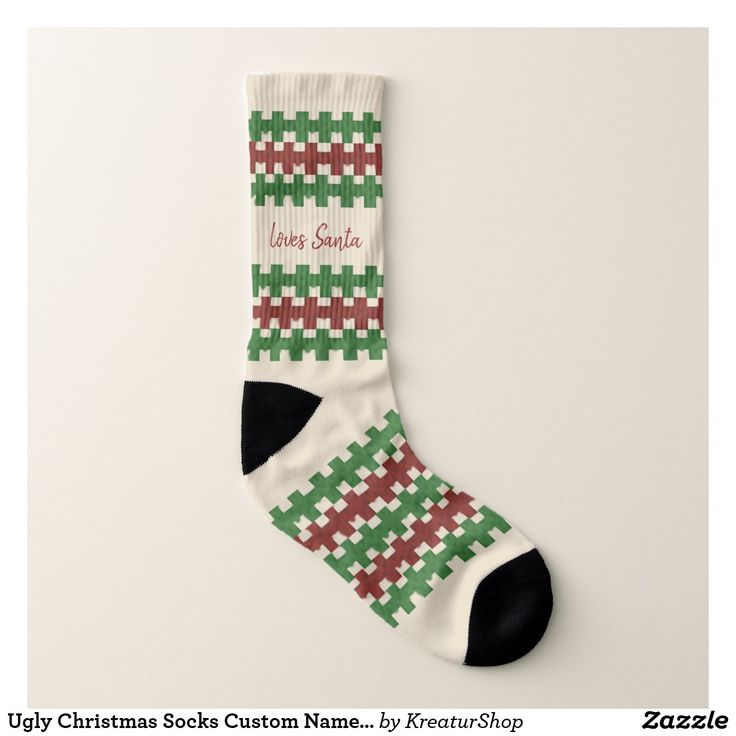 Ugly Christmas Socks Custom Name Loves Santa