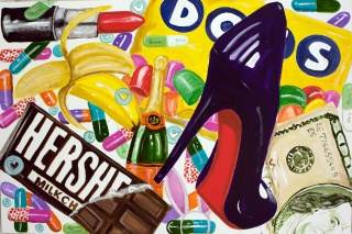 """Laboutin """"Trophy Wife Picnic"""" 48""""x72"""" acrylic on canvas with high gloss resin, Sarah Ashley Longshore"""