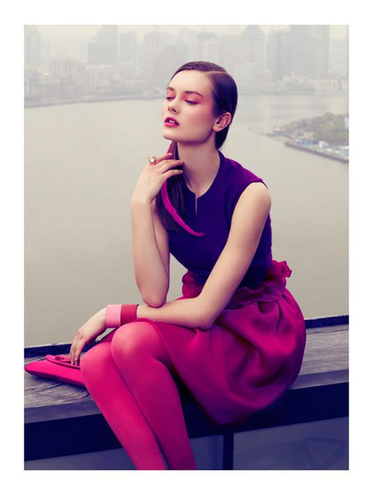 Jac Jagaciak Dons Vibrant Hues for the August Issue of Vogue China by JMN