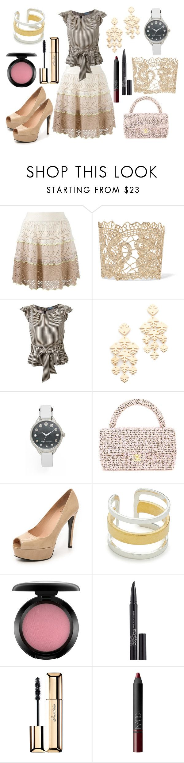 """Simple skirty"" by hillarymaguire ❤ liked on Polyvore featuring Cecilia Pradomurion, Valentino, Guild Prime, Tory Burch, Marc Jacobs, Chanel, Stuart Weitzman, Maya Magal, MAC Cosmetics and Smashbox"