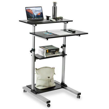 Mount-It! Mobile Stand Up Desk / Height Adjustable Computer Work Station Rolling Presentation Cart (MI-7940) (Stand-Up Desk), Silver