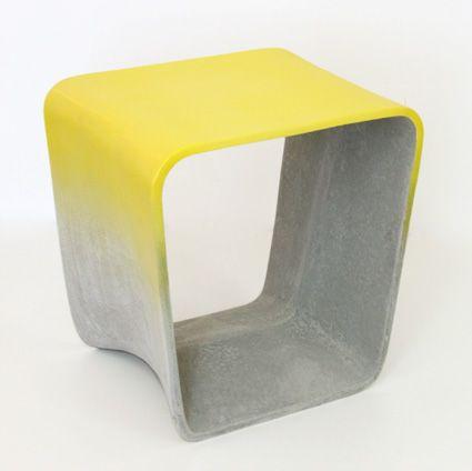 ECAL, Nicolas Le Moigne, tabouret en fibre de papier+ciment, toutes les chutes ont étaient retransformé en vases